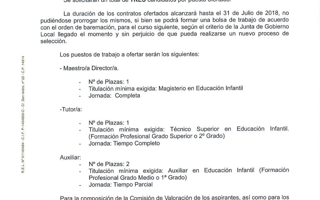 Bases selección personal Escuela Infantil 2017