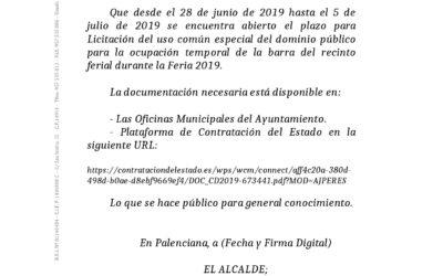 BANDO LICITACIÓN BARRA RECINTO FERIAL PARA FERIA 2019