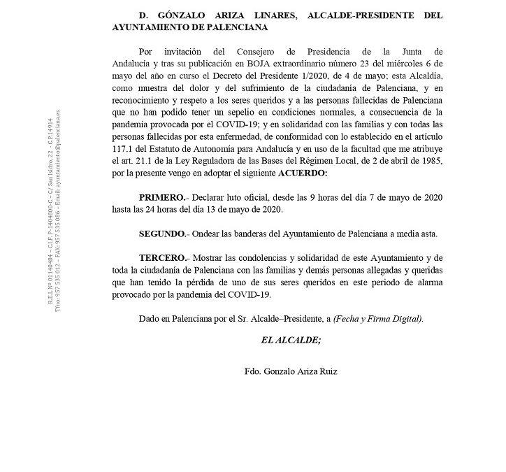 Declaración Luto fallecidos COVID-19
